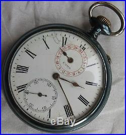 Cyma Calendar Pocket Watch open face gun case 51,5 mm. In diameter
