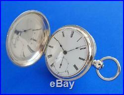 Desirable 18sz Waltham Dennison, Howard & Davis Coin Silver Hunters Case Watch