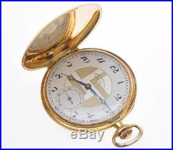 Dubied Chronometre 1930 Deco pocket watch hunting case 18k gold new old stock