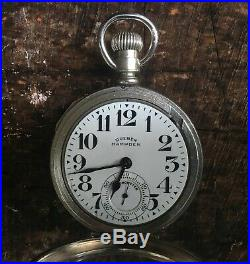 Dueber Hampden 16S No. 105 21J Railroad Grade Pocket Watch in Salesman Case