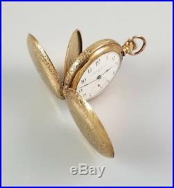 ELEGANT ANTIQUE 0s ELGIN HUNTER HC FOB PENDANT POCKET WATCH 20yr GOLD F. CASE
