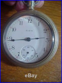 ELGIN Antique 2 1/4 inch POCKET WATCH in Crescent Case RUNNING