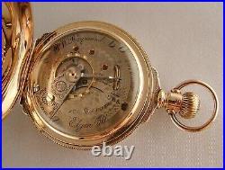 ELGIN B. W. RAYMOND 17j 14k GOLD FILLED BOX HINGE HUNTER CASE 18s POCKET WATCH