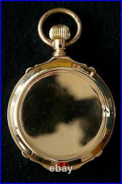 ELGIN Box Hinge Hunter Case 18k Solid Gold Pocket Watch Black Dial 16s Grade 86