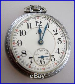 ELGIN FATHER TIME Railroad Locomotive Train Case Double Sunk Dial Pocket Watch