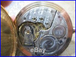 ELGIN LARGE SIZE FANCY HUNTERS GOLD FILLED CASE RUNNING Pocket Watch & CHAIN