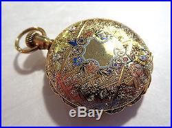 ENAMEL & GOLD Antique POCKET Watch CASE Elegant LISSAUER & Co