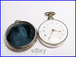 Excellent John Fryer Silver Pair Case Verge Fusee Pocket Watch Runs