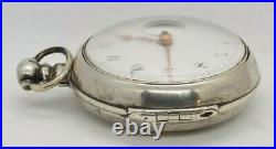 Early 1800s Grayam London Sterling Silver Pair Cased Verge Fusee Pocketwatch