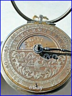 Early Antique English Sun and Moon Dial Silver Pair Case Pocket Watch circa1700