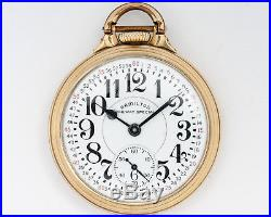 Early Hamilton 992B Pocketwatch withRailway Special Dial Bar over Crown Case