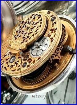 Edward Prior Silver Quad Case Verge Fusee Ottoman Pocket Watch 1820/1840
