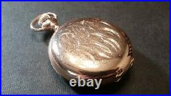 Elgin 0S 14K solid gold, pendant pocket watch with diamond, hunting case