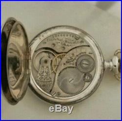Elgin 0S(1904) 7 jewels fancy green dial multi-color Sterling silver hunter case