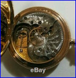 Elgin 0 size 11 jewels very fancy dial (1897) nice 14K. Gold filled hunter case