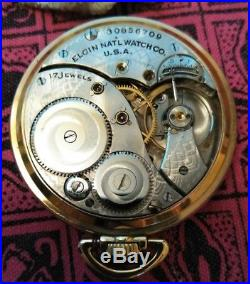 Elgin 12s. Great fancy dial 17 jewels (1928) new old stock case restored