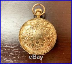 Elgin 14K Solid Yellow Gold, Mechanical Pocket Watch, Hunter Case, Running, 1897
