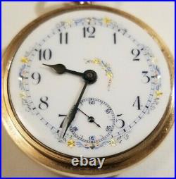 Elgin 18S 15 jewel fancy multi-color dial grade 218 10K gold filled case (1900)