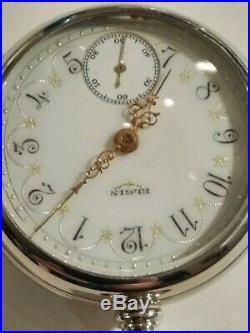 Elgin 18S (1907) grade 349 adj 21 jewels fancy sea fome green dial display case