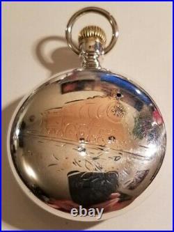 Elgin 18S. 21 jewels adj. Grade 349 mint fancy dial sterling locomotive case