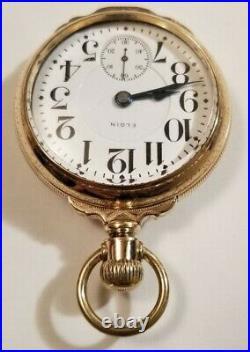 Elgin 18S Scarce Father Time 21 jewel adj Diamond end stones glass back box case