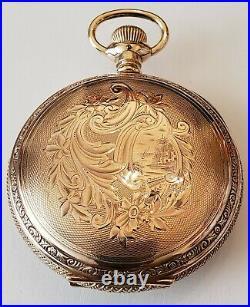 Elgin 18 size 13 jewels grade 82 very nice 14K gold filled hunter case (1885)