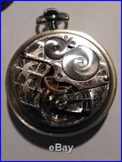 Elgin (1907)16s. Fancy dial & hands 15 jewels silveroid case restored very nice
