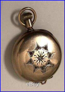 Elgin Antique Hunter Case Pocket Watch Century Piece Gold Filled Diamond Ruby