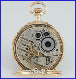 Elgin Natl watch co. Hand ingraved Splendor Hunter case pocket watch 14k Gold