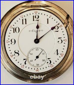 Elgin Scarce 18S. VERITAS 21 jewel adj. 1st generation 4OZ sterling case (1903)