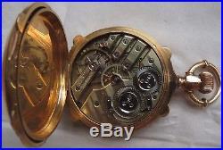 Escapement Detent Chronometer Pocket Watch 18K solid gold carved hunter case