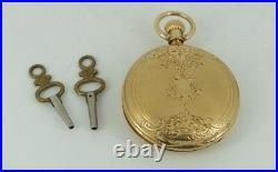 Estate Elgin Gail Borden Pocket Watch Solid 18k gold Engraved Hunters Case