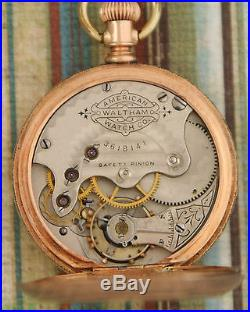 Excellent 1888 TRIPLE MARKED Waltham 14K SOLID GOLD Hunting Case Pocketwatch
