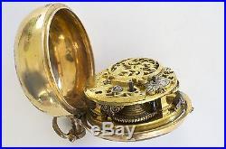 Fine English Gilt Repousse Pair Case Verge Fusee Antique Pocket Watch 1745