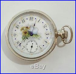 Fancy Dial Riverside Waltham 16s gold filled 19 J pocket watch display case