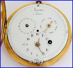 French cylinder fusee pocket watch with calendar, 18K gold case, as is rf25835