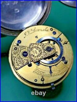 Full Hunter Silver Cased Verge Pocket Watch (Over 55mm) For Restoration (K40)