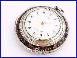 George prior Big Verge fusee Horn pair case pocket watch No 185