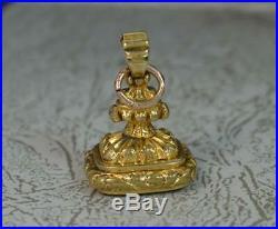 Georgian Gold Cased and Plain Carnelian Pocket Watch Fob Seal Pendant t0384