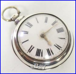 Georgian Pair Cased Pocket Watch Fusee Verge Solid Silver Pocket Watch C1788