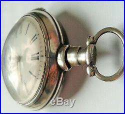 Georgian silver pair cased verge pocket watch c1810