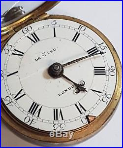 Gilt Cased Pocket Watch By Daniel de Saint Leu 18th Century Verge Fusee