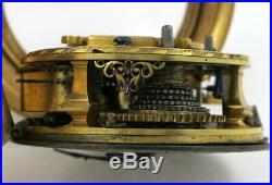 Gilt pocket watch, repousse case, verge Godfrie Poy, London, c1720