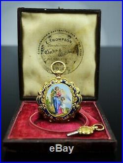 Golay Leresche 18K double enamel case pocket watch, original gold key