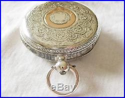 Gorgeous Sterling Silver English lever Pocket watch, engraved case Year 1889