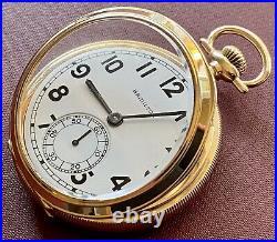 HAMILTON 950E 23J 6 Pos Model 3 Pocket Watch 1939 Half Hunter Case