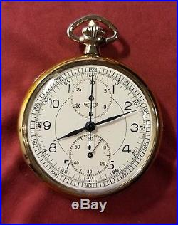 HEUER CHRONOGRAPH Pocket Watch c1935, Two Tone Case, NOS New Old Stock CONDITION