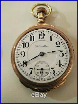 Hamilton 18 size high grade 940 adj. 21 jewels Montgomery Dial 14K. Box Type case