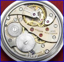Hamilton 669 Traffic Special 16s 17j Pocket Watch OF Case Running
