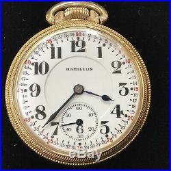 Hamilton 992 2nd Model 21J 16S Railroad Grade Pocket Watch Runs Well YGF Case